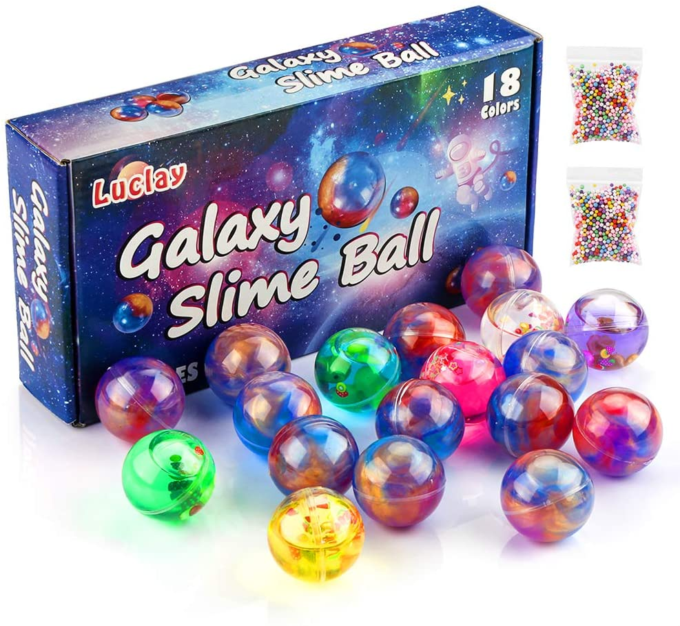 Luclay Galaxy Slime Kit de 18 Paquetes de Gelatina Pegajosa de Masilla Suave Elástica Metálica - para Fiestas de Niños y Adultos