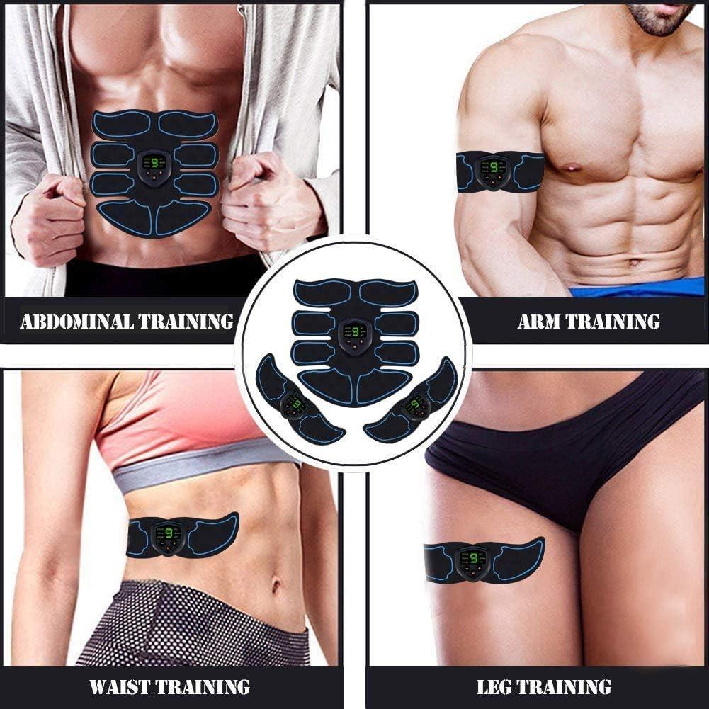 Abs Trainer Bauchgurt mit LCD-Display /& USB aufladbare Gym Ab G/ürtel Toning Gymnastik-Training EMS Muskelstimulator