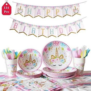 Amazon.com: Juego de accesorios para fiestas de unicornio ...
