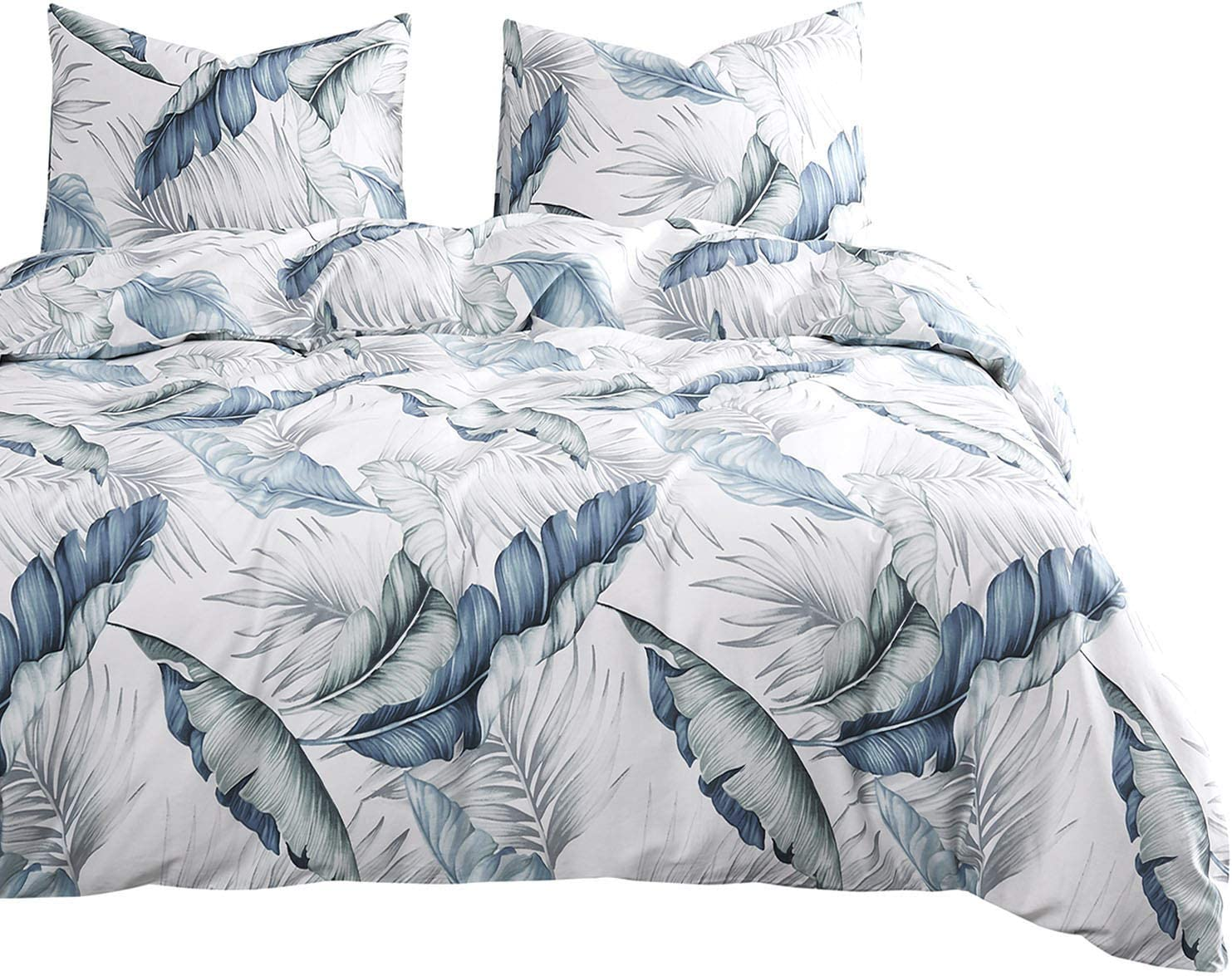 Wake In Cloud - Leaves Comforter Set, 100% Cotton Fabric with Soft Microfiber Fill Bedding, Tropical Banana Tree and Palm Tree Leaves Pattern Printed in Blue and Green (3pcs, King Size)