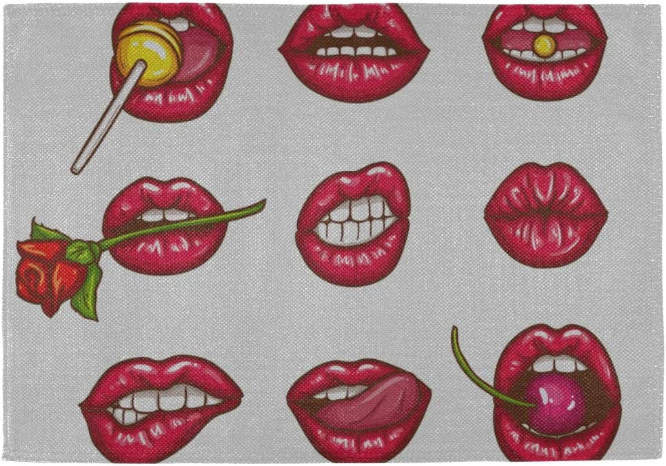 Amazon Com Table Placemats Set Of Pop Art Style Sexy Female Lips 12x18 Inch Dinner Placemats Set Of 6 Double Fabric Printing Cotton Linen For Kitchen Table Home Kitchen