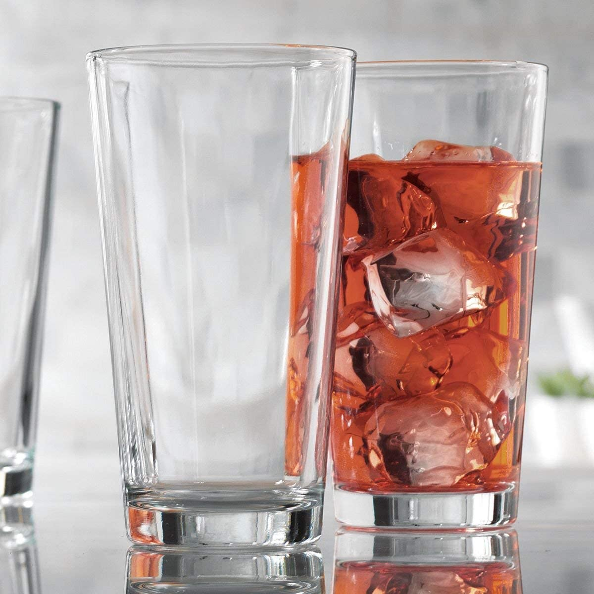 Drinking Glasses Set of 10 Highball Water Glass Cups 17 Oz. Modern Straight Tumbler Beverage Glassware – By Home Essentials & Beyond – Ideal for Water, Juice, Cocktails.