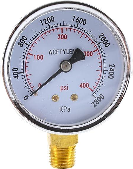 High Pressure Gauge for Acetylene Regulator 0-400 psi 2 inches