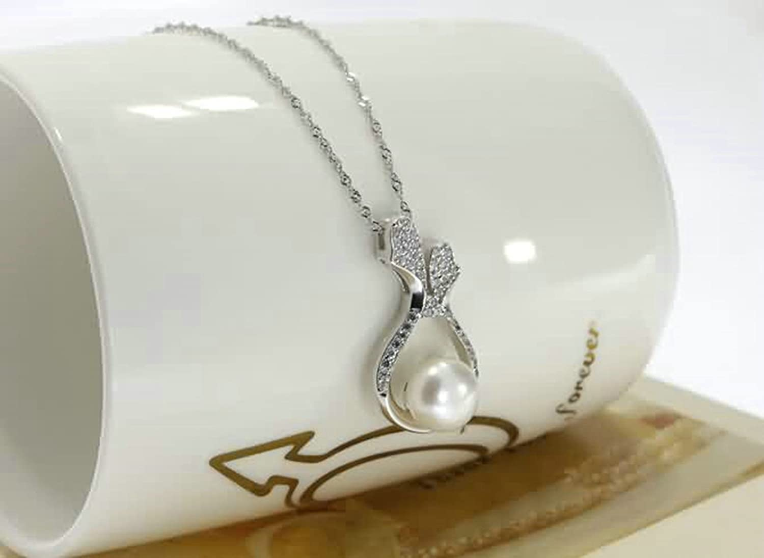 AMDXD Jewelry Women Silver Plated Pendant Necklaces Drop Pearl Cubic Zirconia Silver 2.8X1.5CM