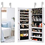Sunix Mirror Jewelry Cabinet Wall/Door Lockable Jewelry Armoire Organizer Jewelry Holder Storage Cabinet White