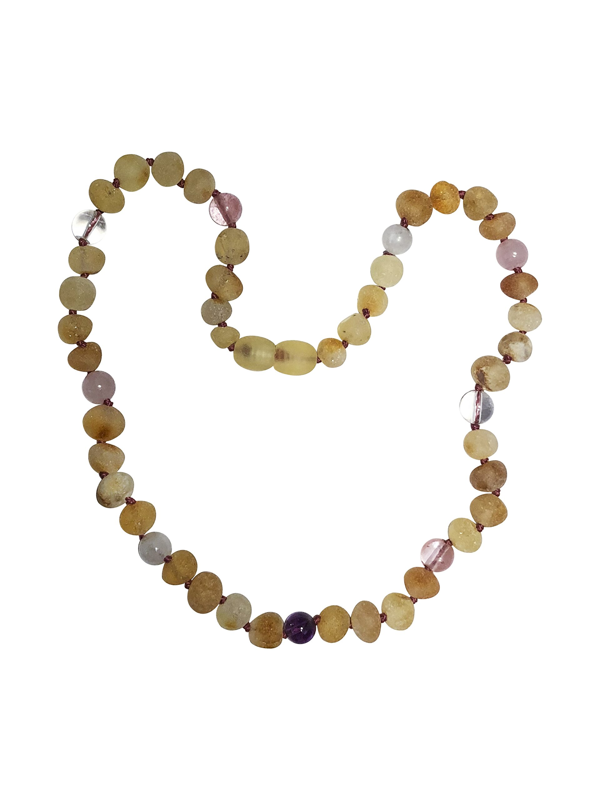 Baltic Amber Necklace for Kids- 15 inch- Immune System Boost - Positivity and Focus. for Children Ages 4-15 (Pink/Purple)