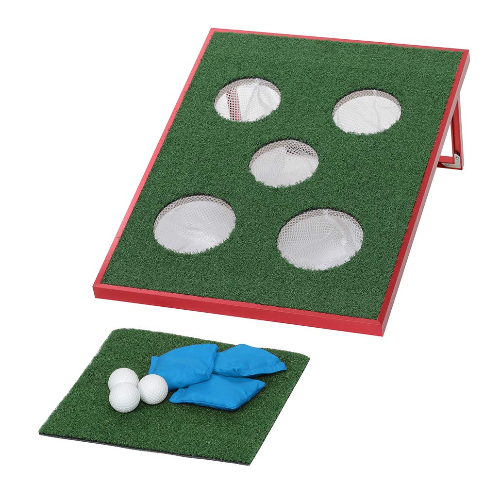 SPRAWL Cornhole Backyard Bean Bags Toss Game Single Board, One Chipping Mat, Three Ball, Three Beanbags for All-Weather by SPRAWL