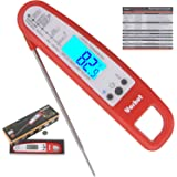 Vorhut VMT-2 Instant Read Barbeque Meat Thermometer with Collapsible Long Probe,Magnet,Backlit Display For Cooking,Baking,Grilling,Steak,Milk.Come In Elegant Gift Box (Red)