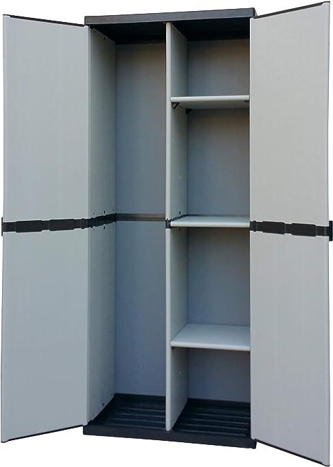 Adventa - Armario escobero de Resina con 2 Puertas, estantes Regulables (Interior/Exterior), Gris Negro, 68 x 39,5 x 168 cm: Amazon.es: Hogar