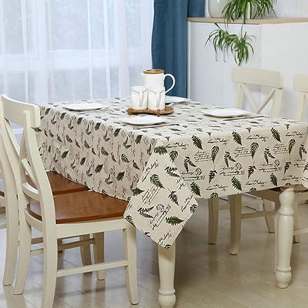 YJ oso hoja de lino y algodón diseño de flores mantel cuadrado ...
