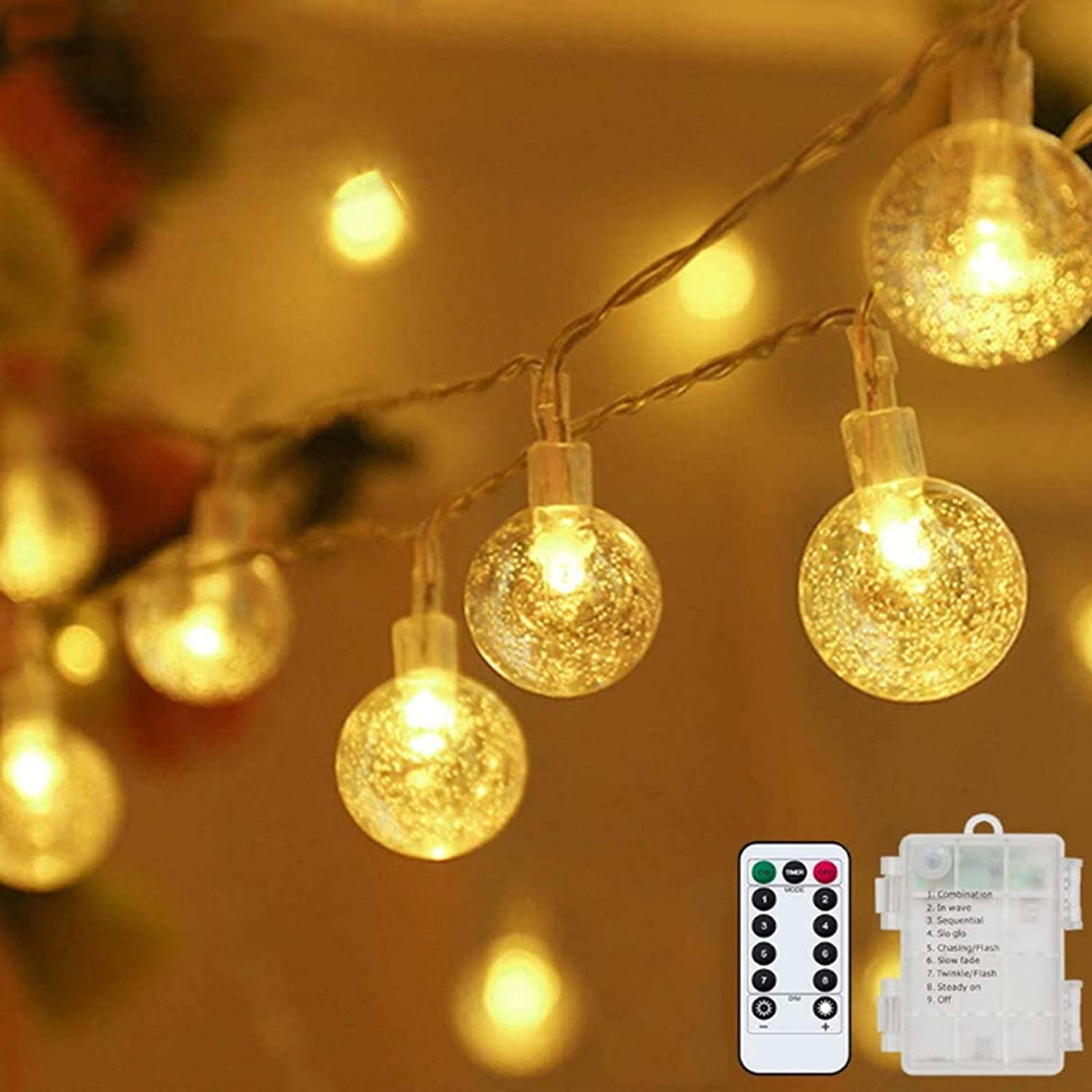 Amazon Com Metaku Globe String Lights Fairy Lights Battery Operated 33ft 80led String Lights With Remote Waterproof Indoor Outdoor Hanging Lights Decorative Christmas Lights For Home Party Patio Garden Wedding Garden