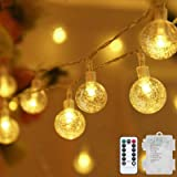 Metaku Globe String Lights Fairy Lights Battery Operated 33ft 80LED String Lights with Remote Waterproof Indoor Outdoor Hangi
