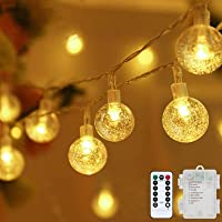 Metaku Globe String Lights Fairy Lights Battery Operated 20ft 50LED String Lights with Remote Waterproof Indoor Outdoor…