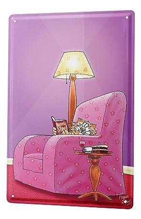 Cartel Letrero de Chapa Dibujos Animados Silla del gato: Amazon.es: Hogar