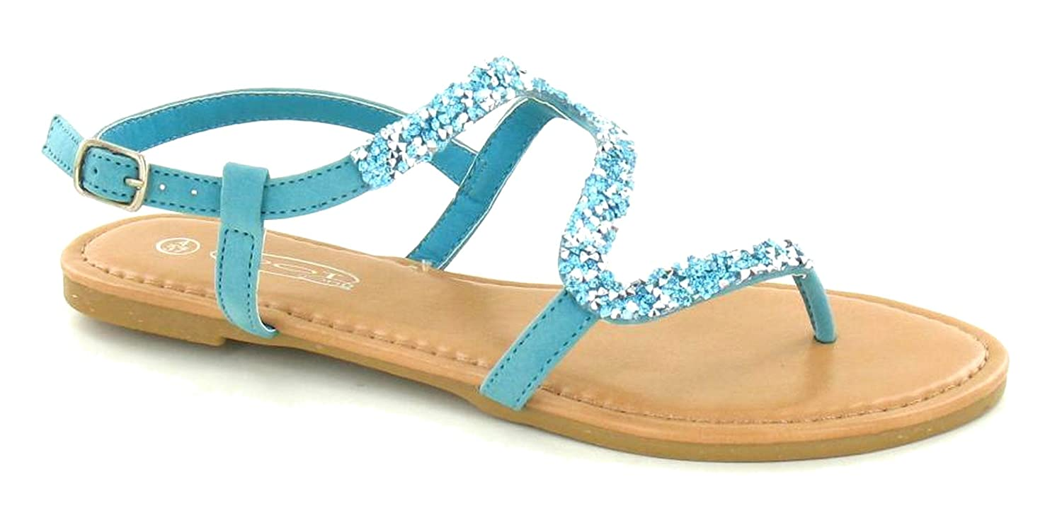 6fc9ccb7fefa Ladies Womens Sparkly Glitter Ankle Strap Toe Post Mule Sandals Shoes Size  3-8-: Amazon.co.uk: Shoes & Bags