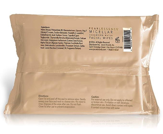 Pearlessence Micelar limpiadora de maquillaje facial Remover Toallitas W/Agua de Coco, 60 cuenta (paquete de 1): Amazon.es: Belleza