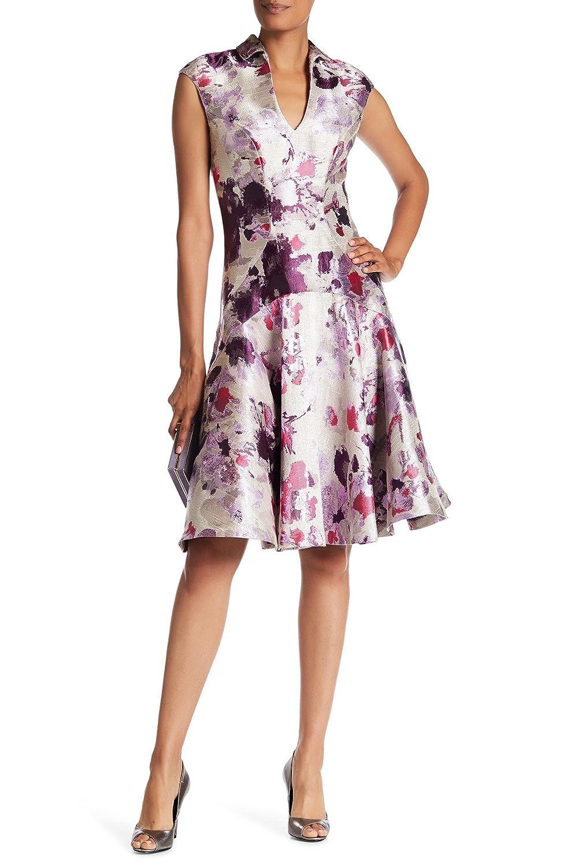 3f4e04f0 Top1: Alton Gray Metallic Floral Print Fit Flare Dress In Purple Multi Size  6