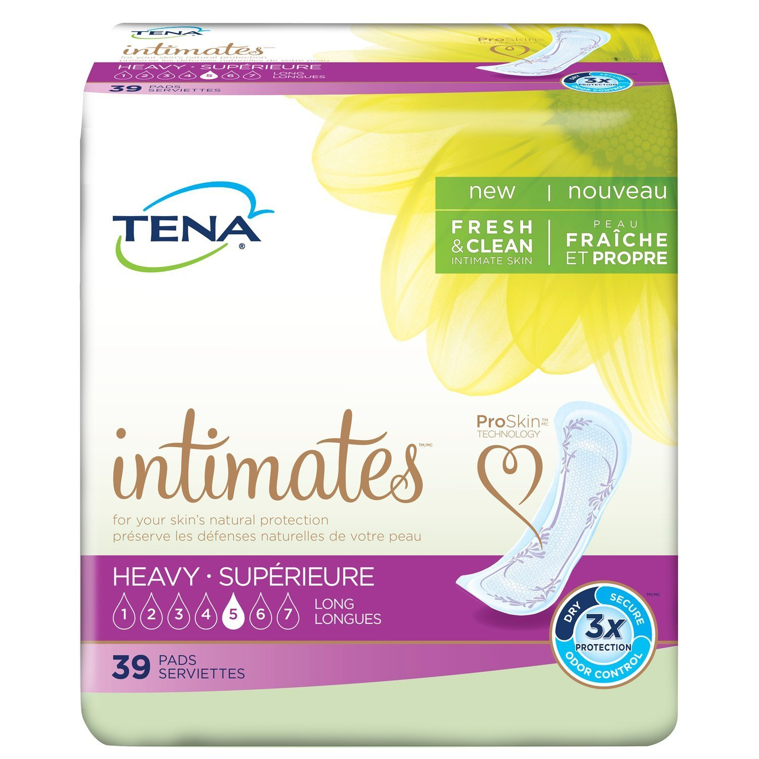 TENA Serenity Heavy Long Pads, 3 Packs of 42, 126 Total Count