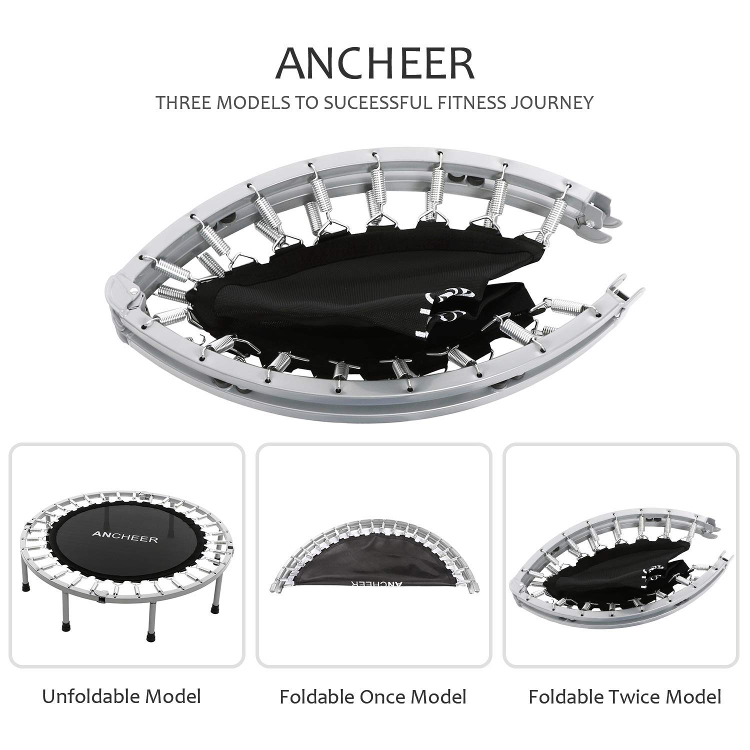 ANCHEER Max Load 220lbs Rebounder Trampoline with Safety Pad for Indoor Garden Workout Cardio Training (2 Sizes: 38 inch/40 inch, Two Modes: Folding/Not Folding) (Renewed) by ANCHEER (Image #3)