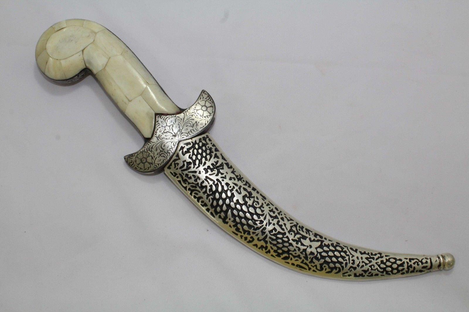 Rajasthan Gems Dagger Knife Damascus Steel Blade Silver Wire Engraved Work Camel bone Handle