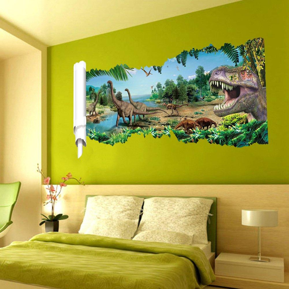 Amazon.com: Wall Art 3D Dinosaur Vinyl Wall Sticker Dinosaur ...