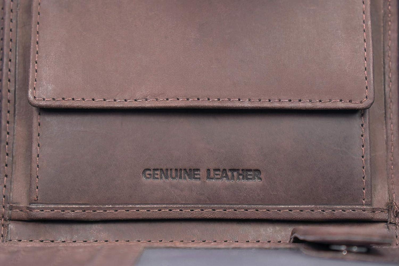 Mokies Messieurs Porte-monnaie de véritable cuir 100/% cuir de buffle RFID NFC protection Walle
