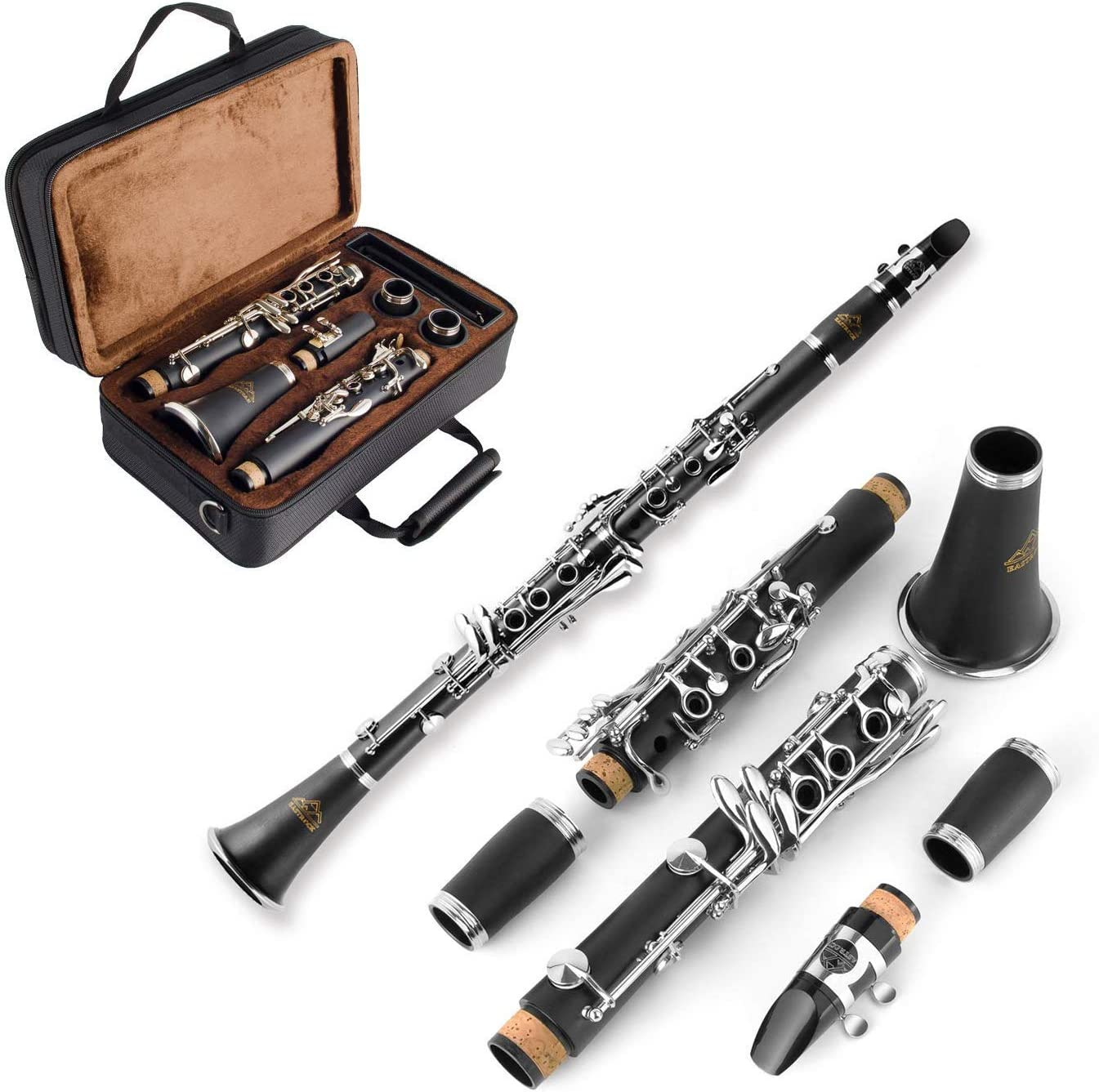 Clarinet Mouthpiece EastRock Clarinet Bb Nickel 17 Keys for Beginner Student Clarinet with 2 Barrels Case