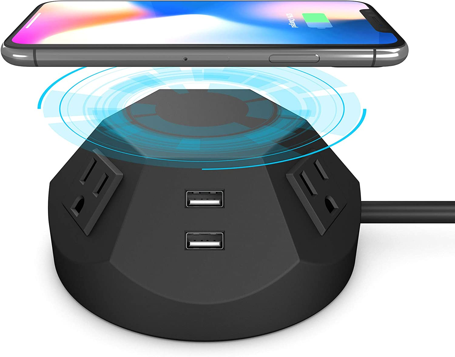BTU 9 in 1 Wireless Charging Surge Protector Power Strip Tower with 4 AC Outlet Plugs and 4 USB Charging Dock Station, 6.56 FT Extension Cord Universal Socket PC Laptops Phone