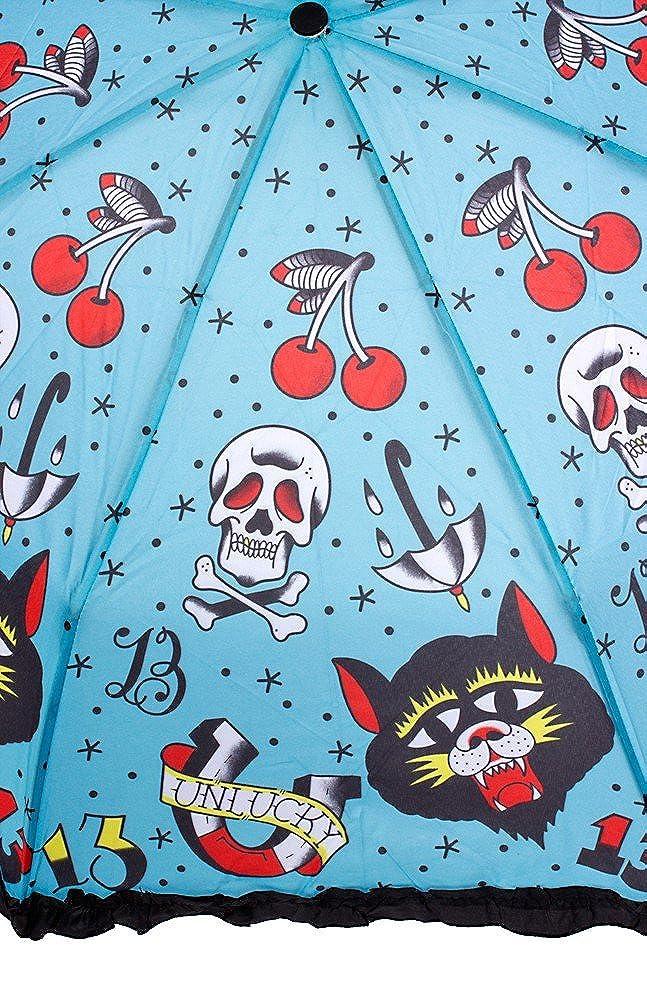 Sourpuss Unlucky Oldschool Tattoo Calavera paraguas ...