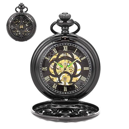 SIBOSUN Reloj de Bolsillo Steampunk Negro Carcasa de Cobre Esqueleto mecánico Fob Hombre Cnain números Romanos Antiguos: Amazon.es: Relojes