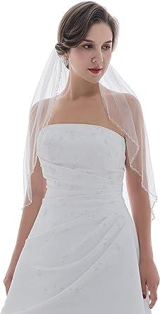SAMKY 1T 1 Tier Wavy Pearl Crystal Beaded Veil Elbow Length 30