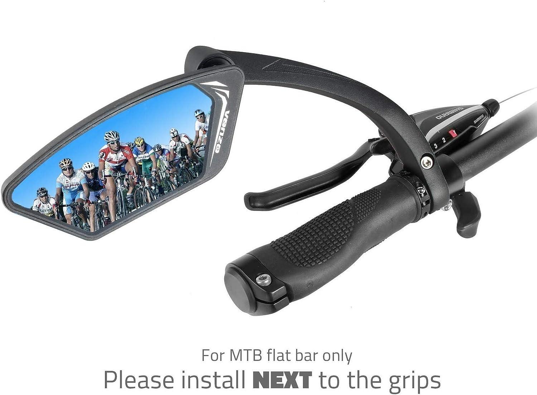 Venzo Bicycle Bike Handlebar Mirror Silver Lens 50/% Anti-glare Glass