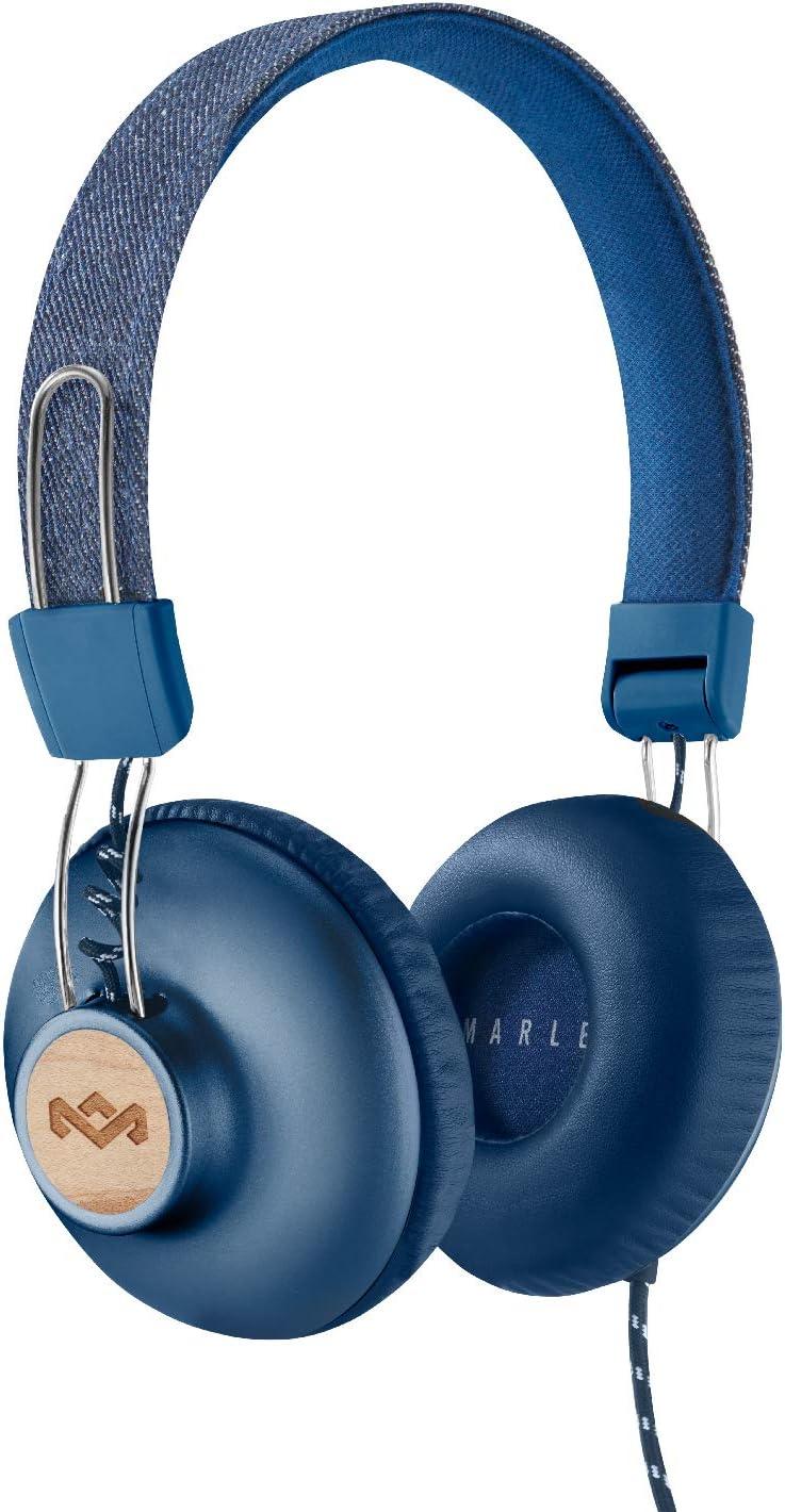 House of Marley Positive Vibration 2 Auriculares con micrófono, Diver de 40 mm, diseño cómodo en la Oreja, Plegable, Azul