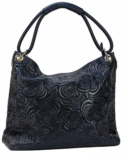 9f3798c6ae30d8 BZNA Bag Kira Dunkelblau Blau Italy Designer Damen Handtasche Ledertasche  Tasche Wildleder Prägung Shopper Neu