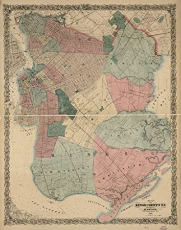 Amazon Com Map 1868 Of Kings County N Y Entered According To Act