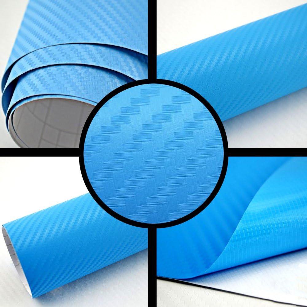 Tiptopcarbon 8 55 M Autofolie 3d Carbon Hell Blau Metallic 152cm Breit Blasenfrei Mit Luftkanäle 3d Flex Selbstklebende Folie Auto Folierung Küche Haushalt