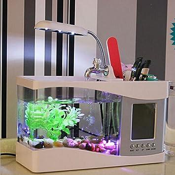 Mini USB Pen Tanque Acuario Decoración Casera Creativa Hora Calendario Alarma LED Pequeña Lámpara De Mesa,White: Amazon.es: Hogar