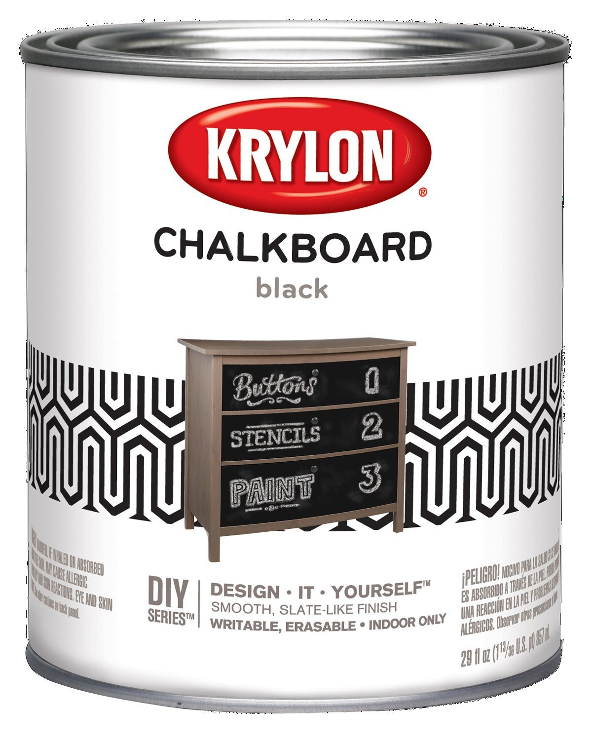 Krylon K05223000 Chalkboard Paint Special Purpose Brush-On, Black, Quart by Krylon