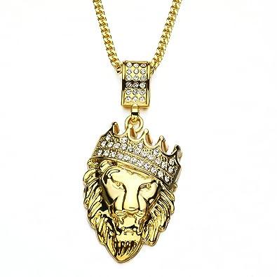 7185d6b3c374c Hip Hop Men Lion Head Stainless Steel Iced Out Crown Pendant Necklace, 28''  inch