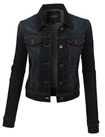 LE3NO Womens Vintage Long Sleeve Denim Jacket with Pockets at