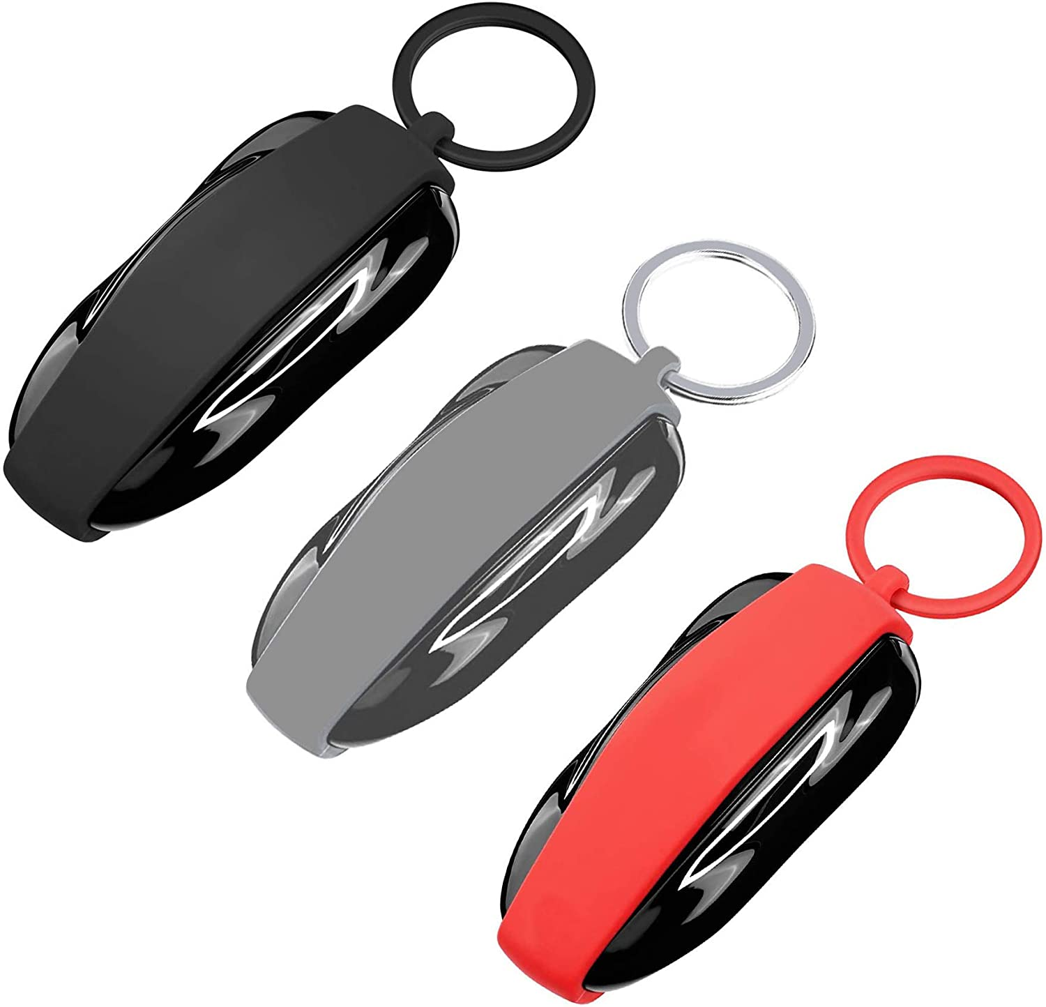 Model 3, Gray RAYSUN Silicone Key Fob Protector Cover Keychain Compatible for Tesla Model 3 Model S Model X Model Y
