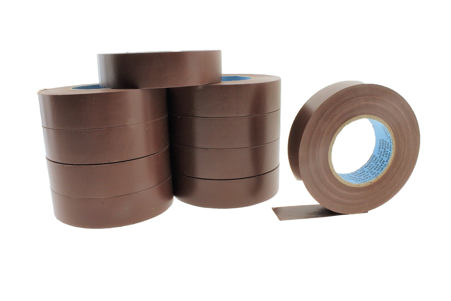 10pk 3/4'' BROWN Electrical Tape Supreme Durable .75 Pro-Grade Wire harness PVC Vinyl Marking Labeling Coding Warning Safety Flame Retardant 60' 7 mil