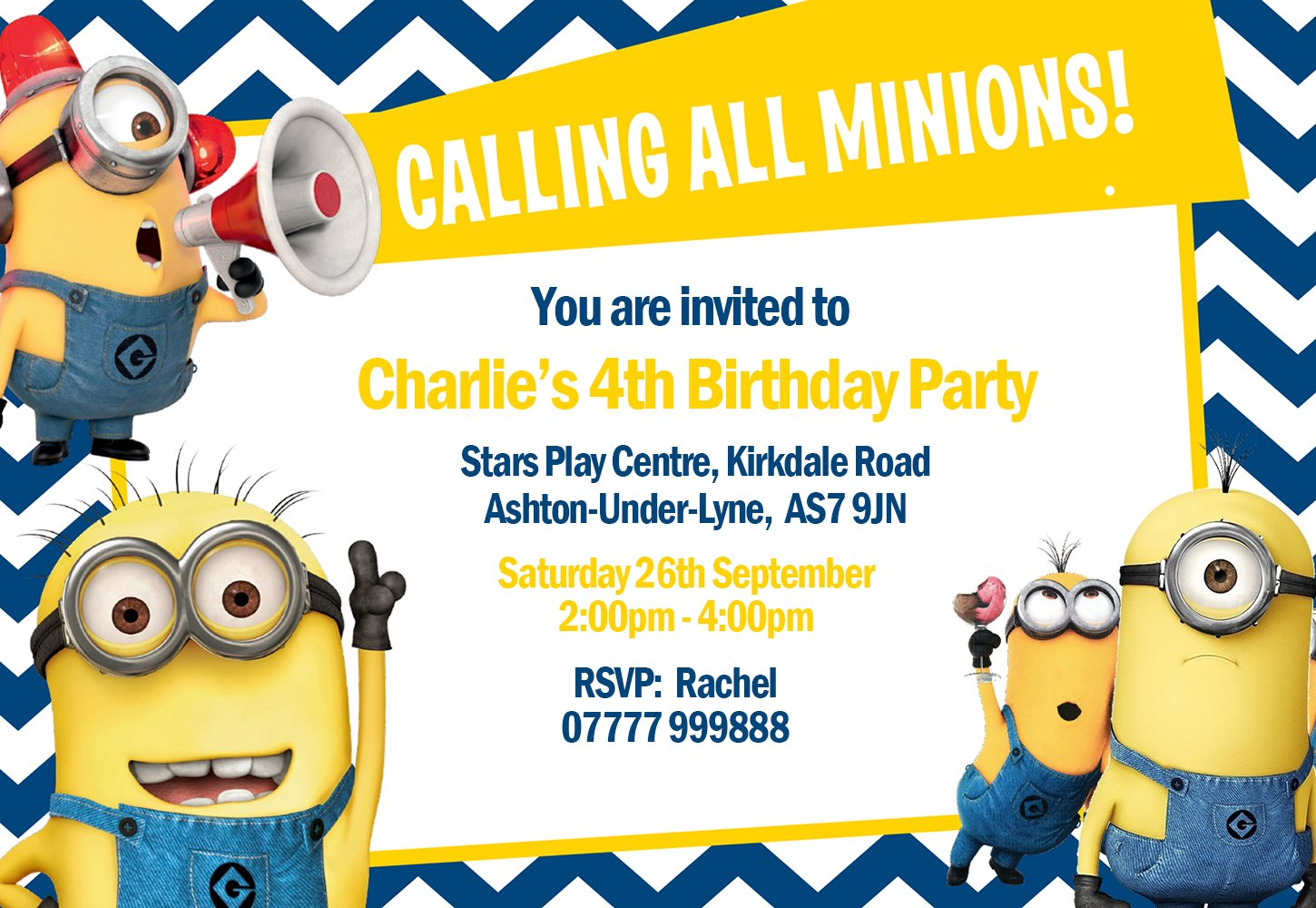Minions Party Invitations & Envelopes Invites (Personalised) Click ...
