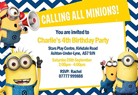 minions party invitations envelopes invites personalised click