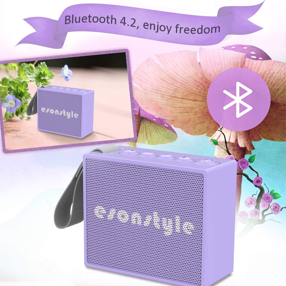 Esonstyle Waterproof IPX6 Portable Bluetooth Speaker 5W Drive Built-in Mircophone for iPhone iPod ipad All Bluetooth Devices