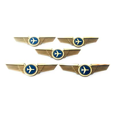 Kids Airline Pilot Wings Plastic Pins Pinbacks Badges Lot of 5 Pins Gold: Clothing