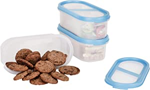 SIMPARTE Bakers Set | Pantry Airtight Food Storage Containers | 2.2 Cup | 3 Container Set | Microwave & Dishwasher Safe | BPA Free | Freezer Safe | Space Saver Modular Design (Blue Lids)