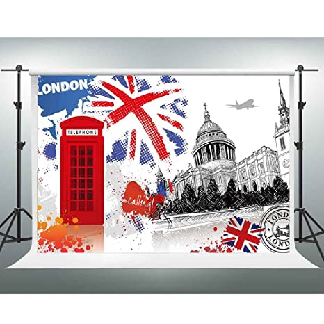 GESEN British Flag Backdrop 10X7ft Literary Retro Wallpaper Red Telephone Booth Photography Background Theme Party