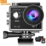 JEEMAK Action Camera 4K Sport Camera 170° Wide-Angle Touch Screen Camera WiFi Waterproof Camera with Remote Control and Dual Batteries+Camera Accessories Kit