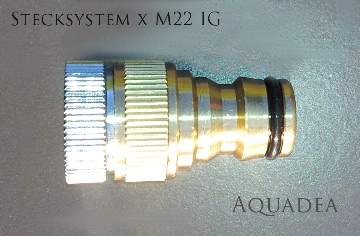 Gardena Steck System Kompatibeler Adapter Mit M22 Innengewinde IG Stabile,  Schöne Metall Ausführung Zum Anschluß